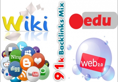 91,000 backlinks mix of wiki, social, dofollow and web 2.0