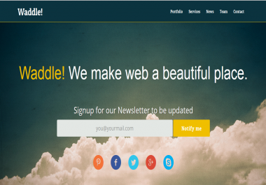 waddle- Responsive One Page Template Responsive Html5 Theme