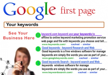 get me on google. co. in 1st page for 10 keywords,  rest on 2nd page. we already got good alexa ranking