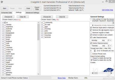 Custom program to extract email address from craiglist. org