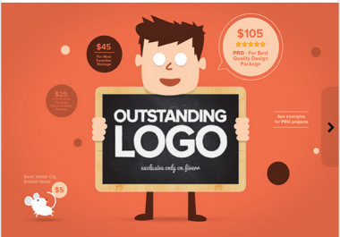 I will design OUTSTANDING Logo for 5