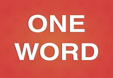 Easy Simple One word Writing Job