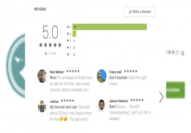 facilities + positive comment in Spanish in app play stores google