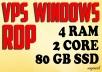 VPS RDP Windows 4 GB RAM 2 CPUs 80 GB SSD for $7