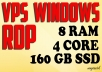 VPS RDP Windows 8 GB RAM 4 Core 160 GB SSD FOR SEO TO... for $15