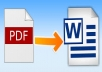 convert any pdf to word or image for $5