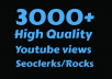 I will Add 3000+ High Retention Youtube views