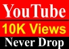 10000 / 10K YouTube Vie ws Never Drop High Quality Fully Safe Instant Start