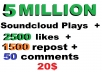 5m soundcloud plays and  2500 soundclud likes and 150... for $20