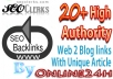 20+ High Authority Web 2 Blog Links only