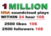 1m  safe USA soundcloud plays  or 2500 usa soundcloud likes or repsot or followers within 24 hour