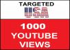 Added 1,000 USA Geo Targeted  youtube video boosting
