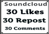 Get Soundcloud 30 Likes 30 Repos 30 Comments within 24 Hours
