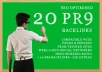 CREATE 20 PR9 Backlinks from AUTHORITY, google youtub... for $14