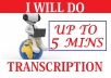 Do Transcription For Up to 5 min Audio or Video  for $8