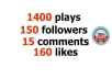 I will add 4000 Plays, 150 followers, 15 comments and... for $5