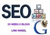 Link Wheel of 30 High PR web 2 properties + Ping + ra... for $6