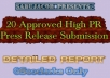 20 Approved Press release submissions