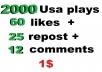 2000 high retention usa soundcloud plays 60 likes 12 comments 25 repost