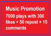 Music Promotion 7000 Plays with 300 likes and 15 comm... for $5