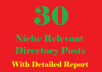 Provide 30 Niche relevant Directory Submissions for $5