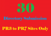 Provide Manual directory submission to 30 PR3 to PR7 ... for $5