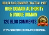 give you 120 High DA Unique domain DoFollow blog comments