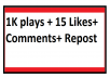 Real Manual Music Promotion 1000 plays 15 Likes Comments Repost