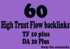 Get 60 High  Trust Flow and Citation Flow Backlinks on high DA