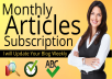 Monthly Article Subscription for your Blog for $60