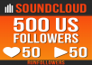 500+ real US SoundCloud followers +50 likes +50 reposts.