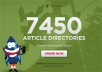 Spin and submit your article to 7450 DIRECTORIES, get... for $10