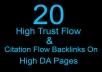 20 high trust flow and citation flow backlinks
