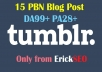 Permanent 15 Tumblr PBN blog posts DA99+ and PA28+
