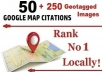 50 Google Map Citations + 250 Geotagged Images for Super Local SEO
