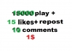 15000 USA soundcloud plays 15 likes and repost and  15 comments