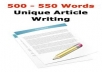 Unique 6 articles of 500 words each article writing