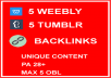 5 Weebly and 5 Tumblr Backlinks PA 28+ DONE FOR YOU