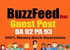 Publish Quality article on BuzzFeed With DA 92 PA 93 Permanent Backlink