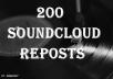 provide u 200 sound cloud reposts