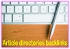 Do 3000 Article directories contextual High PR Metrics Backlinks