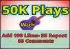 Add 50K Safe Soundcloud Plays, 100 Likes , 35 Repost and 05 Unique Comments