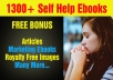 Over 1300 Mrr,Plr Self Help Ebooks And Articles for $5