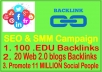 ?SEO & SMM Campaign- 100 EDU Backlinks-20 WEB2.0 Backlinks- Promote 11 Million Social fans  ?