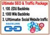 Ultimate SEO & Traffic Package-  100 .EDU  backlinks -1000 Wiki backlinks- Unlimited Social website Traffic