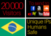 drive 20k visitors from brazil to your website, brazilian traffic