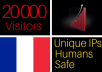 drive 20k visitors from france to your website, frenc... for $5