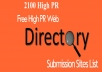 High PR 2000 Directory Submission Manually  for $5