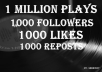 1 MILLION SOUNDCLOUD PLAYS 1000 FOLLOWERS 1000 LIKES 1000 REPOSTS