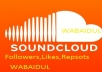Real Soundcloud 100+ Followers 100+ Likes 100+ Reposts within 2-3 Hours
